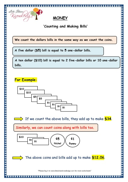 Grade 3 Maths Worksheets: (10.4 Counting and Making Bills) - Lets ...