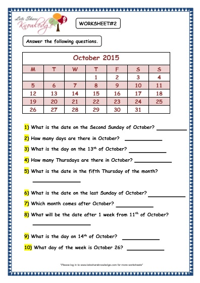 Calendar Worksheet Grade : Grade maths worksheets dates and days on calendar