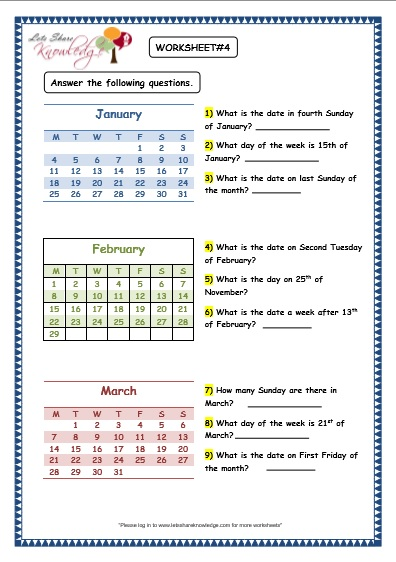 Calendar Practice Worksheets Kindergarten : Grade maths worksheets dates and days on calendar