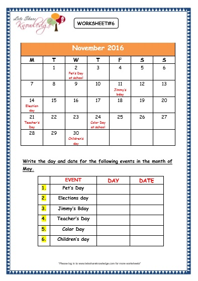 Calendar Activities Grade 2 : Grade maths worksheets dates and days on calendar