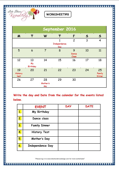 Calendar Reading Worksheet : Grade maths worksheets calendars lets share knowledge