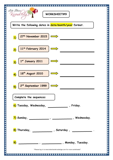 Calendar Reading Worksheet : All worksheets calendar reading printable