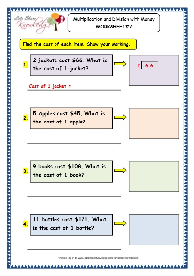 grade 3 maths worksheets   10 3 multiplication and division with money