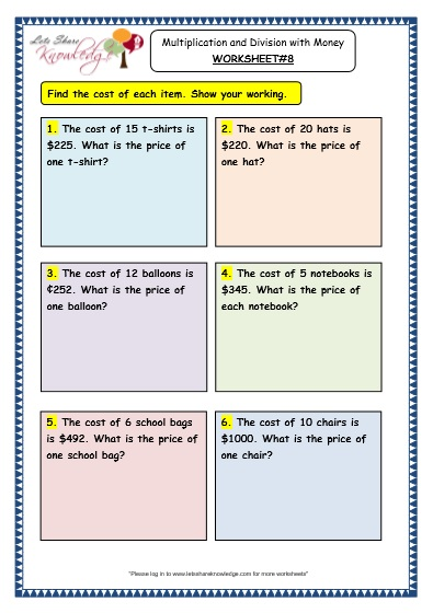 Grade 3 Maths Worksheets: (10.3 Multiplication and Division with ...
