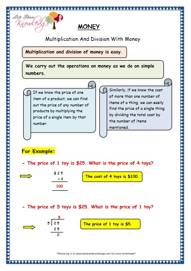 Grade  Maths Worksheets  Multiplication And Division With
