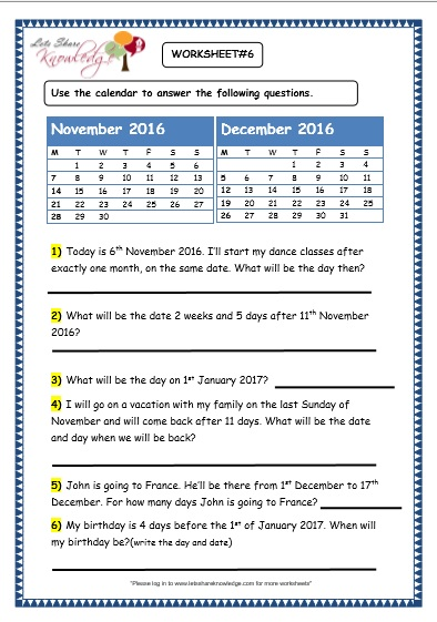 Calendar Worksheet Ks : Grade maths worksheets problem solving with calendars