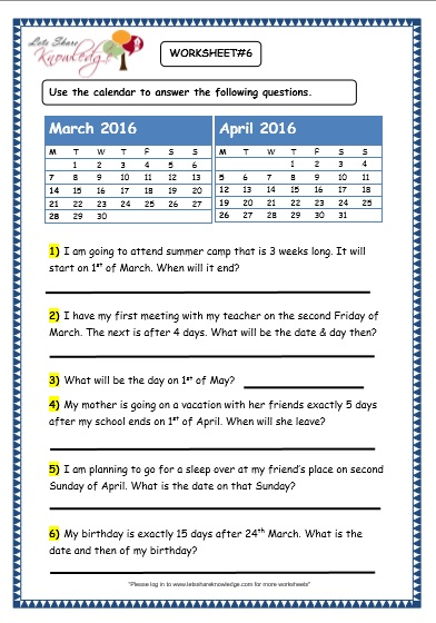 Calendar Worksheet Grade : Grade maths worksheets problem solving with calendars