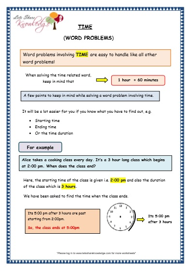 Grade 3 Maths Worksheets: (8.5 Time Problems) - Lets Share Knowledge