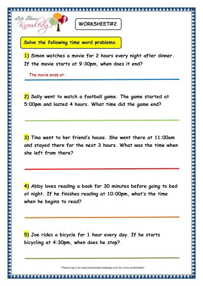 Word Problems Time Worksheets : Grade maths worksheets time problems lets share