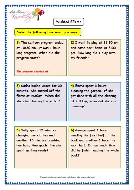 Free Worksheets » Maths Worksheets Time Word Problems - Free ...