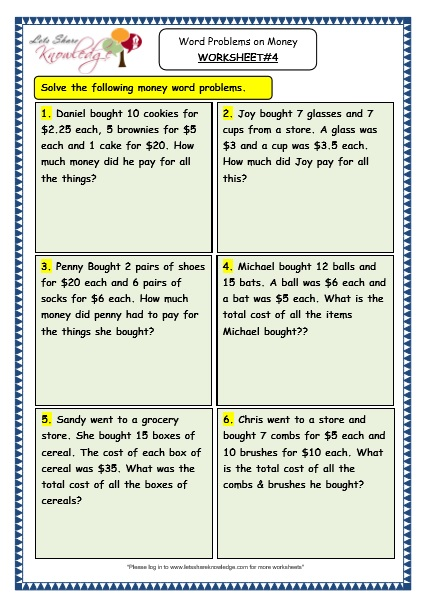 Grade 3 Maths Worksheets 105 Word Problems On Money Lets Share