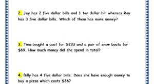 Grade 3 Maths Worksheets: (10.5 Word Problems on Money)