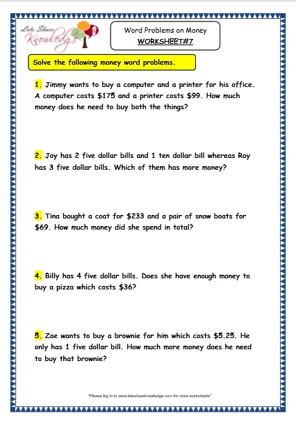 Grade 3 Maths Worksheets: (10.5 Word Problems on Money ...