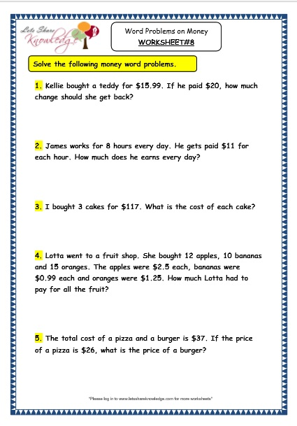 grade 3 maths worksheets 10 5 word problems on money lets share knowledge. Black Bedroom Furniture Sets. Home Design Ideas