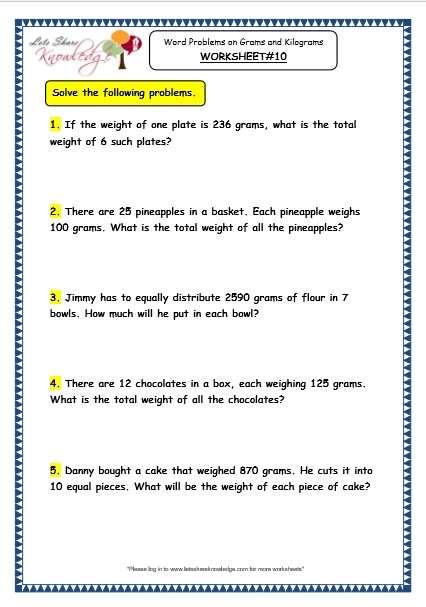 Grade 3 Maths Worksheets: (12.8 Word Problems on ...
