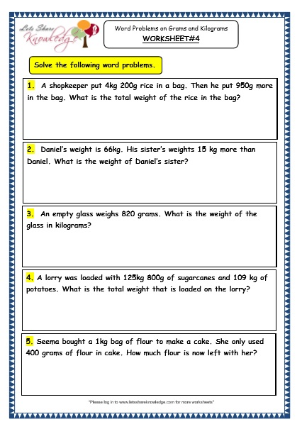 Grade 3 Maths Worksheets: (12.7 Word Problems on Grams and Kilograms ...