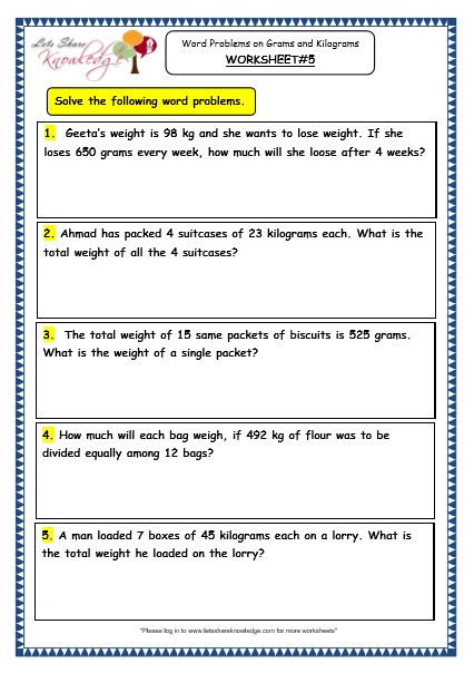 Common core worksheets division word problems