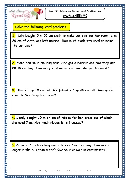 How Long Is A Meter : Grade maths worksheets word problems on meters