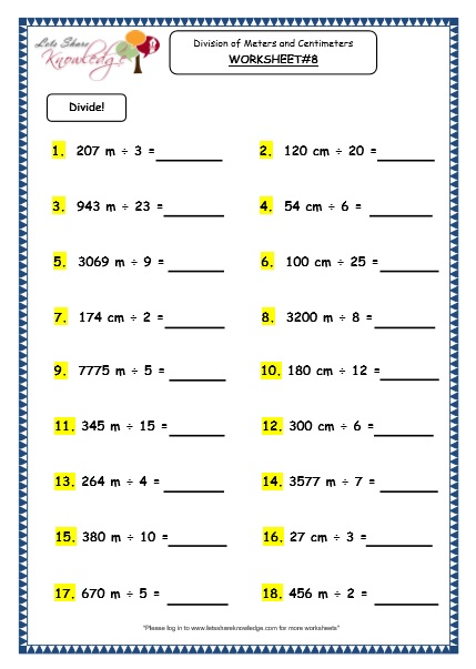 Grade 3 Maths Worksheets 118 Division Of Meters And Centimeters