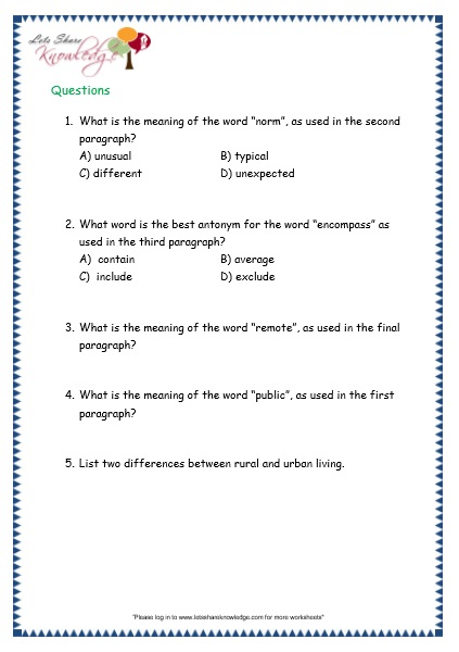 Comprehensions for Grade 3 (Ages 7 - 9) Worksheets Passage 31 ...