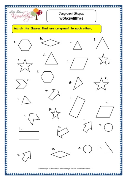 Grade 3 Maths Worksheets: (14.5 Geometry: Congruent Shapes) - Lets ...