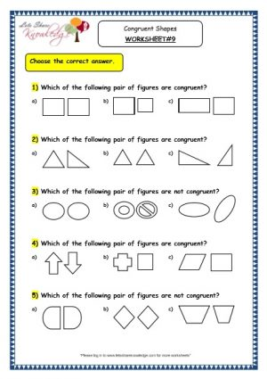 Grade 3 Maths Worksheets: (14.5 Geometry: Congruent Shapes)