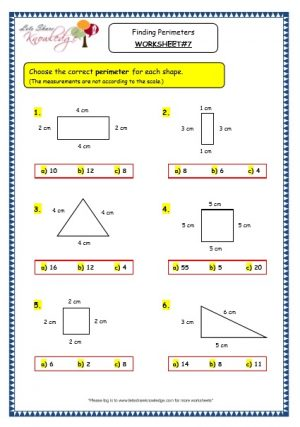 Grade 3 Maths Worksheets: (14.8 Geometry: Finding Perimeters)