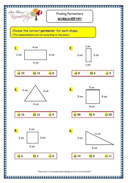 Grade 3 Maths Worksheets: (14.8 Geometry: Finding Perimeters ...