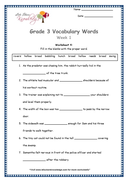 Grade 3: Vocabulary Worksheets Week 1