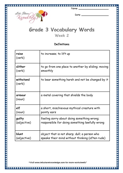 grade 3 vocabulary worksheets Week 2 definitions
