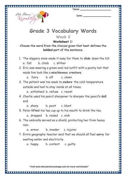 grade 3 vocabulary worksheets Week 2 worksheet 1