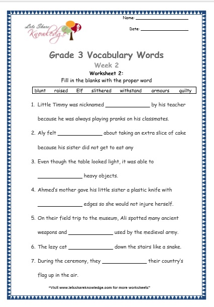 grade 3 vocabulary worksheets Week 2 worksheet 2