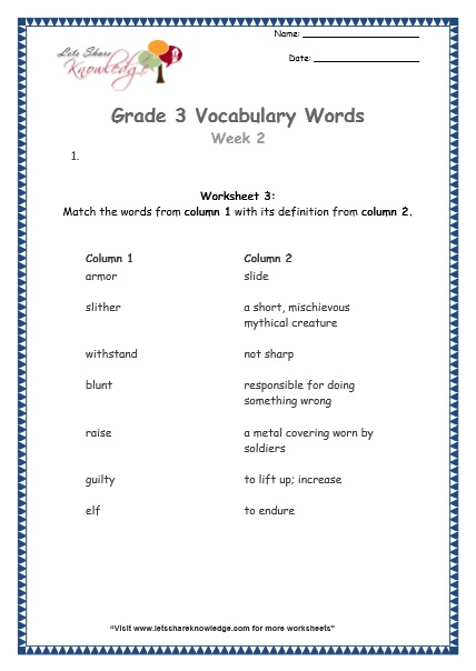 Grade 3: Vocabulary Worksheets Week 2