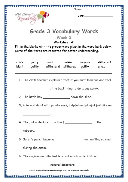 grade 3 vocabulary worksheets Week 2 worksheet 4