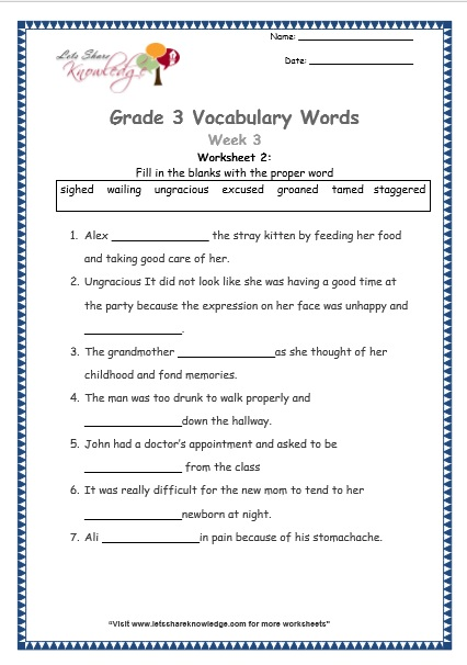 grade 3 vocabulary worksheets Week 3 worksheet 2