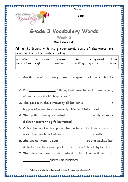 Grade 3: Vocabulary Worksheets Week 3 - Lets Share Knowledge