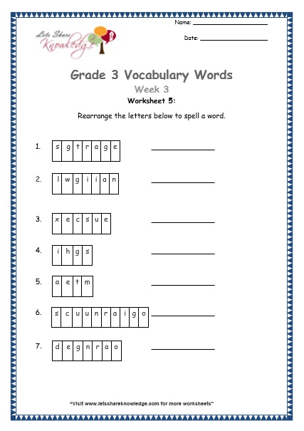 grade 3 vocabulary worksheets Week 3 worksheet 5