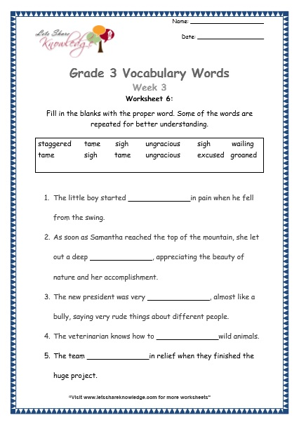 grade 3 vocabulary worksheets Week 3 worksheet 6