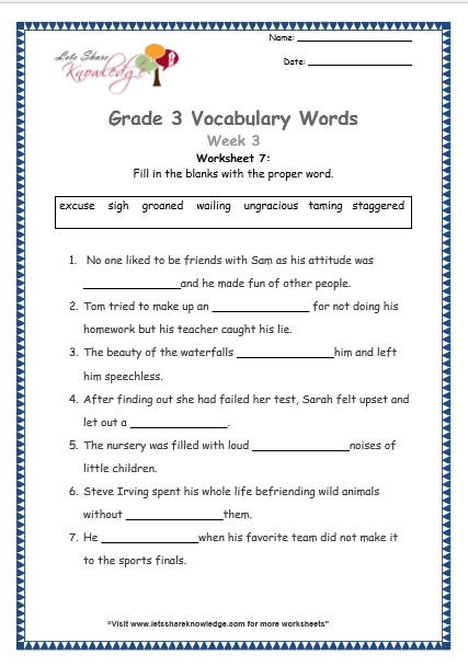 grade-3-vocabulary-week-3-worksheet-7 Tame And Wild Animals Worksheet For Kindergarten on wild animals worksheets for kindergarten, adult and baby animals worksheet, animal and their babies worksheet,