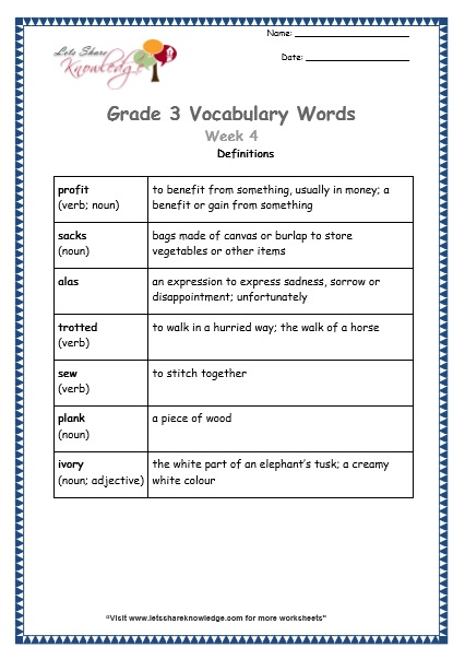 grade 3 vocabulary worksheets Week 4 definitions