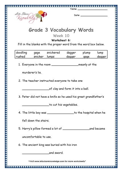 grade 3 vocabulary week 10 snicker doodlings rush gaged lumps plump daggers