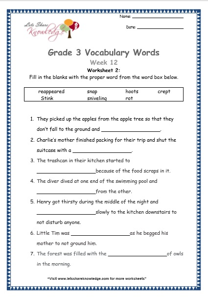 Grade 3: Vocabulary Worksheets Week 12 crept reappear rotten snap stink hoot snivel
