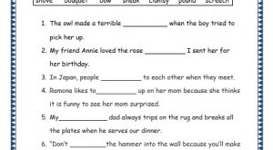 Grade 3: Vocabulary Worksheets Week 13 screech, bouquet, bow, sneak, clumsy, pound, shove