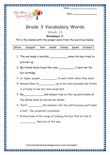 Grade 3: Vocabulary Worksheets Week 13 - Lets Share Knowledge