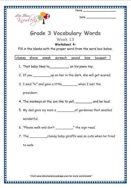 Vocabulary Worksheets Grade 3 : Grade vocabulary worksheets week lets share knowledge