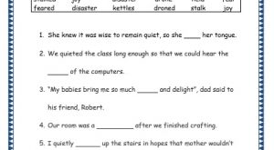 Grade 3: Vocabulary Worksheets Week 15 stalk, joy, drone, held, fear, kettle, disaster
