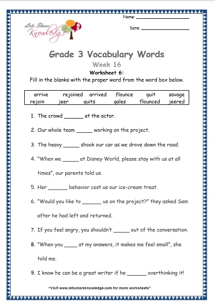 Grade 3: Vocabulary Worksheets Week 16 - Lets Share Knowledge