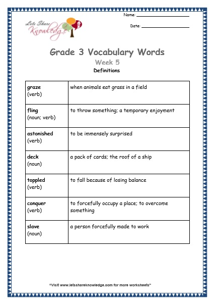 grade 3 vocabulary worksheets Week 5 definitions