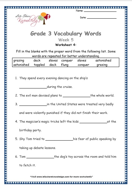 Grade 3: Vocabulary Worksheets Week 5