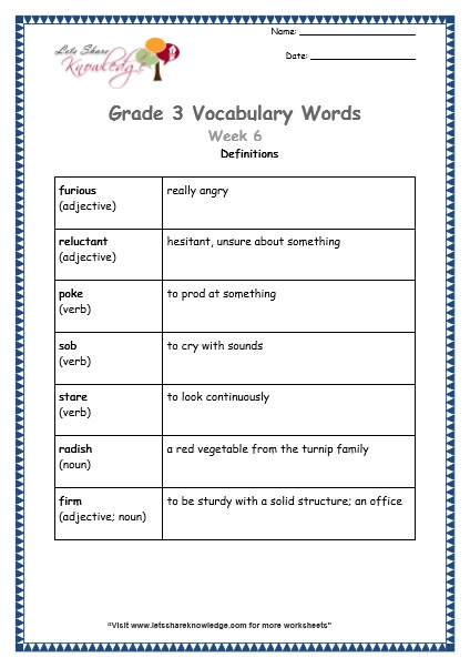 grade 3 vocabulary worksheets Week 6 definitions